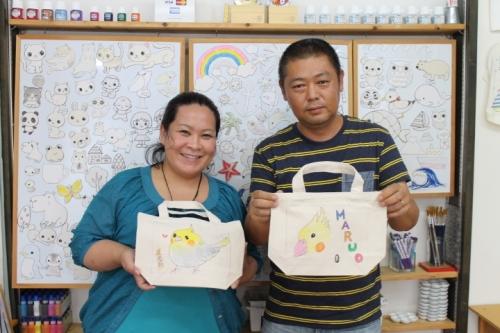 夫婦で作った手描きトートバッグ
