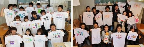 仲間たちで作った手描きTシャツたち