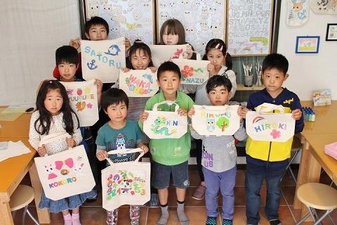 子供会で作った手描きトートバッグ