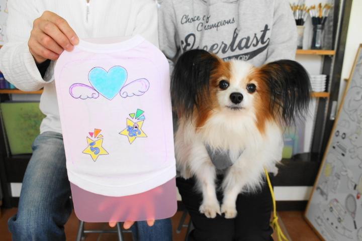 パピヨンの手描きワンコTシャツ