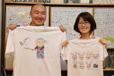 完成した手描きTシャツは当日お持ち帰りできます