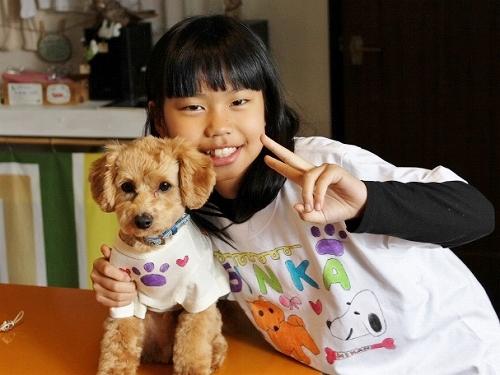子供が作った愛犬とお揃い風Tシャツ