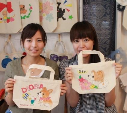 伊豆旅女子ふたりが作った手描きトートバッグSサイズ