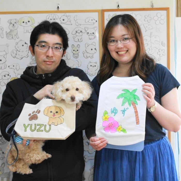 夫婦で作ったトイプードル・ゆずちゃんの手描きワンコTシャツと手描きトートバッグ