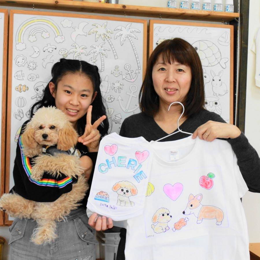 母娘で作った手描きTシャツと手描きワンコTシャツ