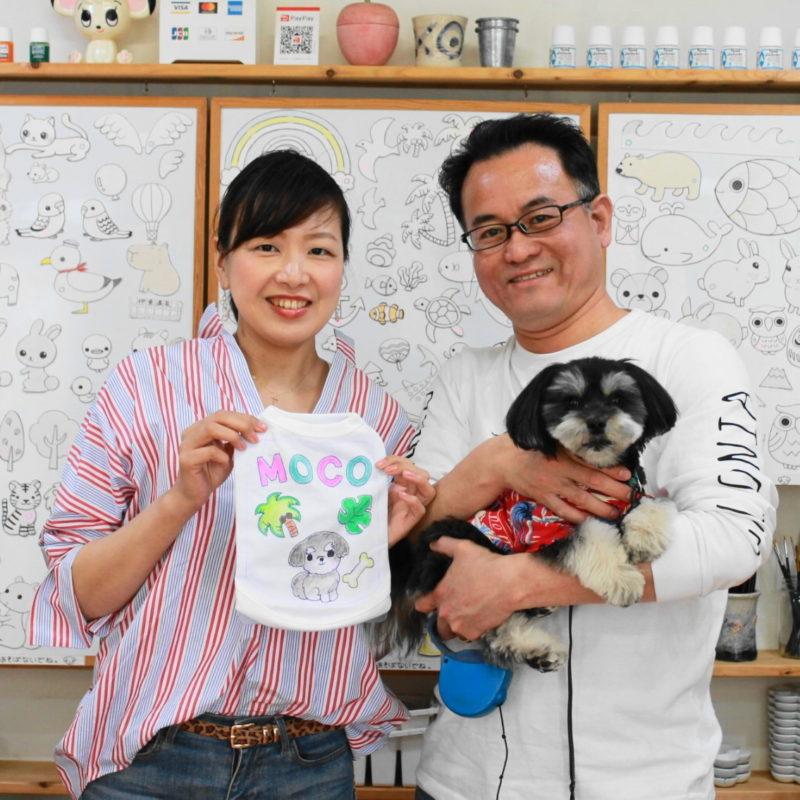 チワワxマルチーズ・MOCOちゃんの手描きワンコTシャツ