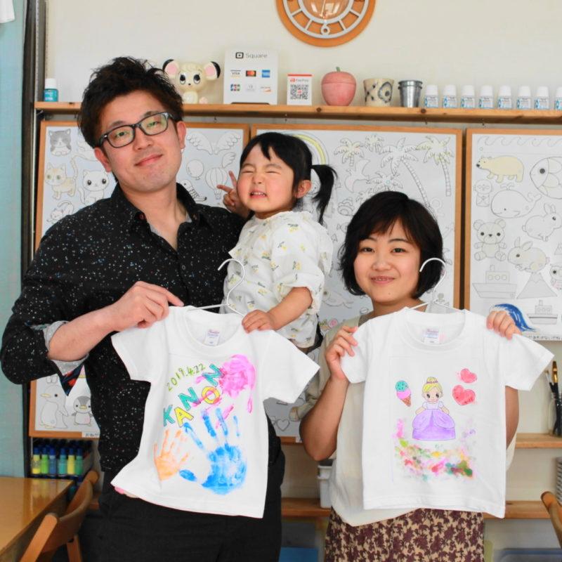 親子で作った手形とプリンセスの手描きTシャツ