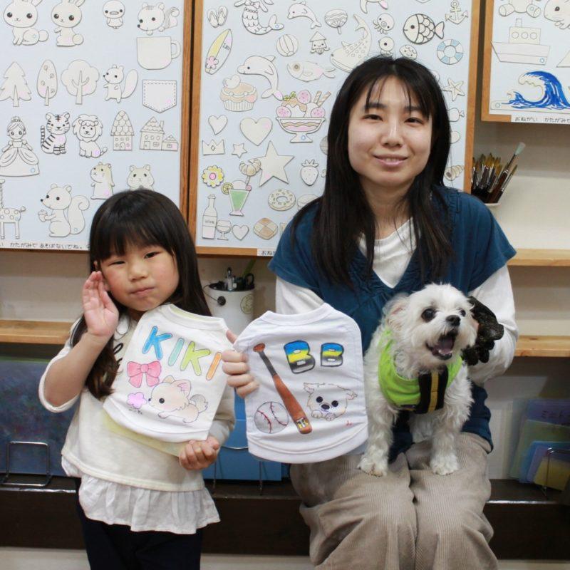 KIKIちゃんとBBちゃんの手描きワンコTシャツ