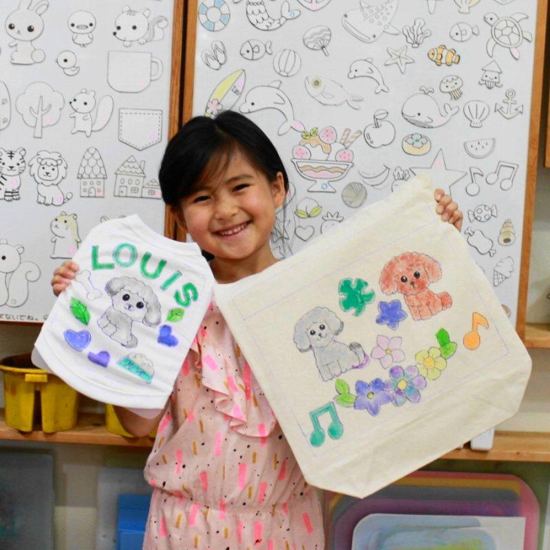 女の子が作ったトイプードルLOUISくんの手描きワンコTシャツと手描きトートバッグ