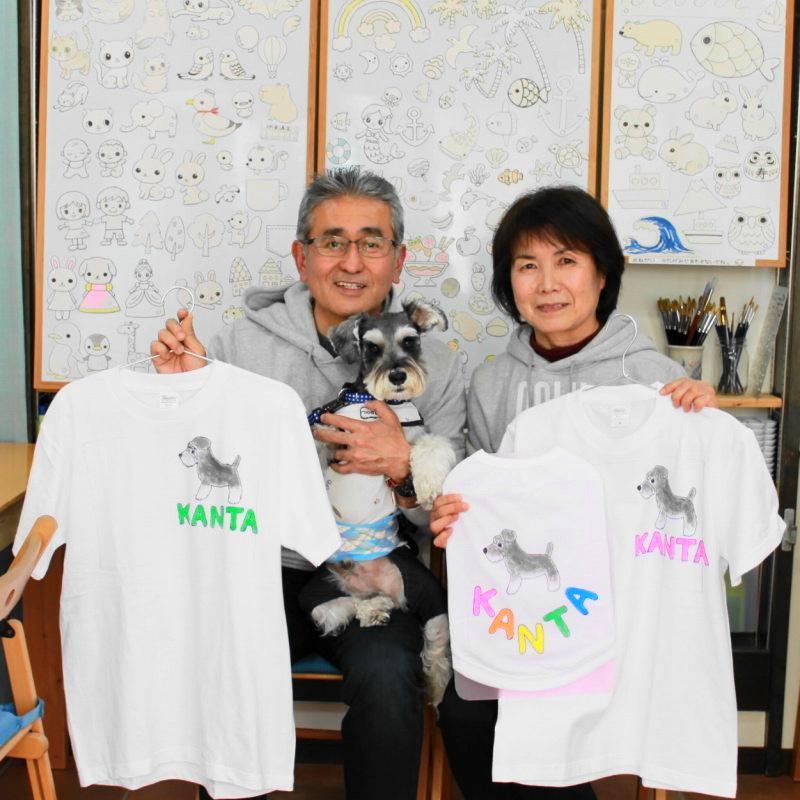 シュナウザー・KANTAくんの手描きワンコTシャツと手描きTシャツのセット