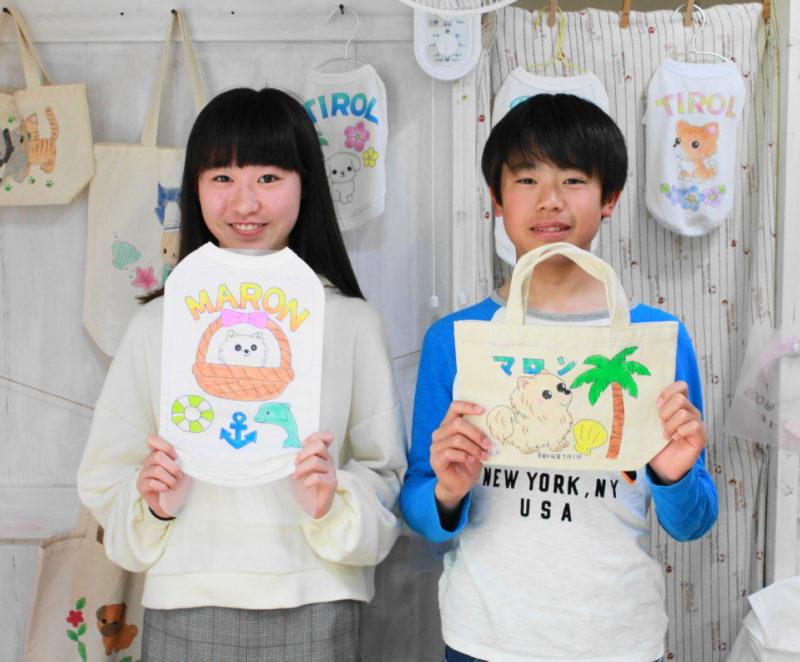 姉弟の手描きワンコTシャツと手描きトートバッグ