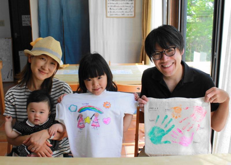 親子で作った手描きTシャツと手形トートバッグ