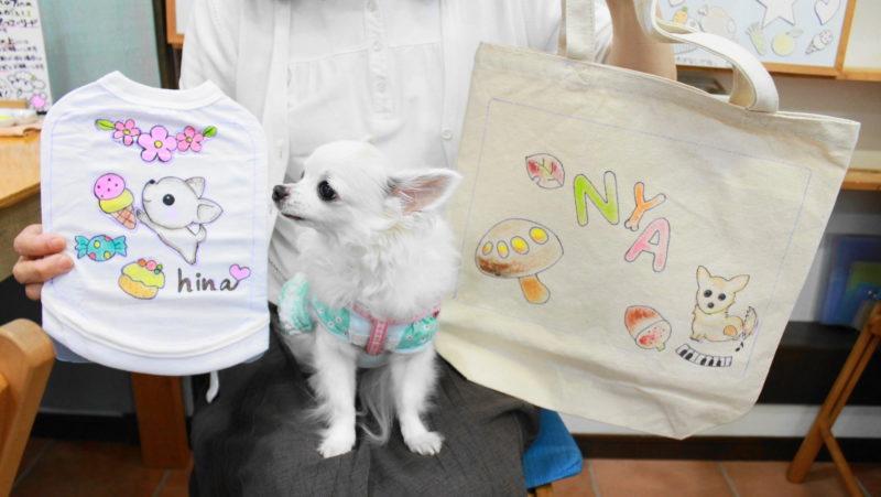 夫婦で作られたチワワの手描きワンコTシャツと手描きトートバッグ