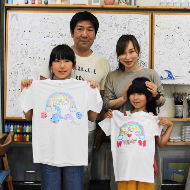 姉妹で虹がお揃い風の手描きTシャツ