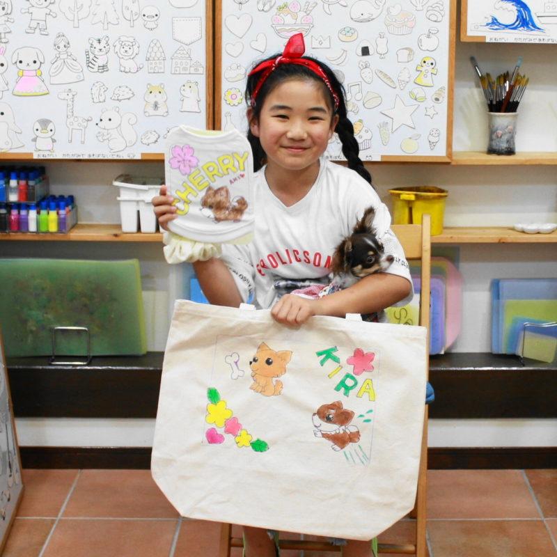 親子で作った手描きワンコTシャツと手描きトートバッグ
