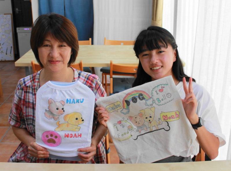 母娘で作った手描きワンコTシャツと手描きトートバッグ