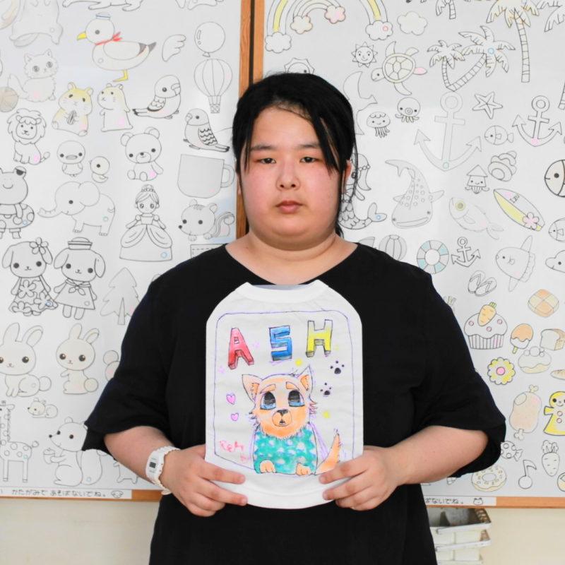 愛犬ASHくんの手描きワンコTシャツ