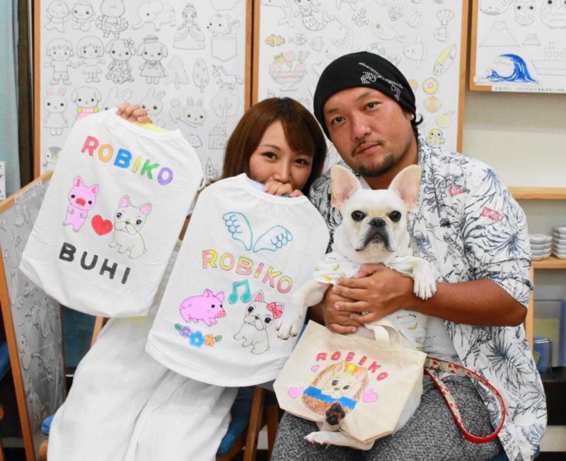 フレンチブルドッグROBIKOちゃんの手描きワンコTシャツと手描きトートバッグ
