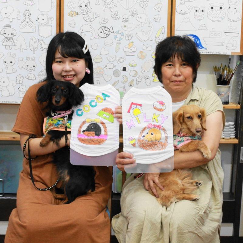 ミニチュアダックスCOCOAちゃんとMILKYちゃんの手描きワンコTシャツ