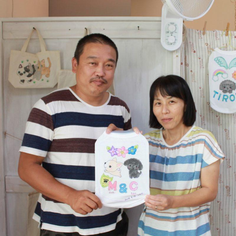 夫婦で作った手描きワンコTシャツ