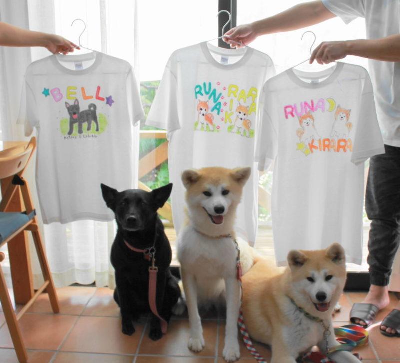 愛犬たちが主役の手描きTシャツたち