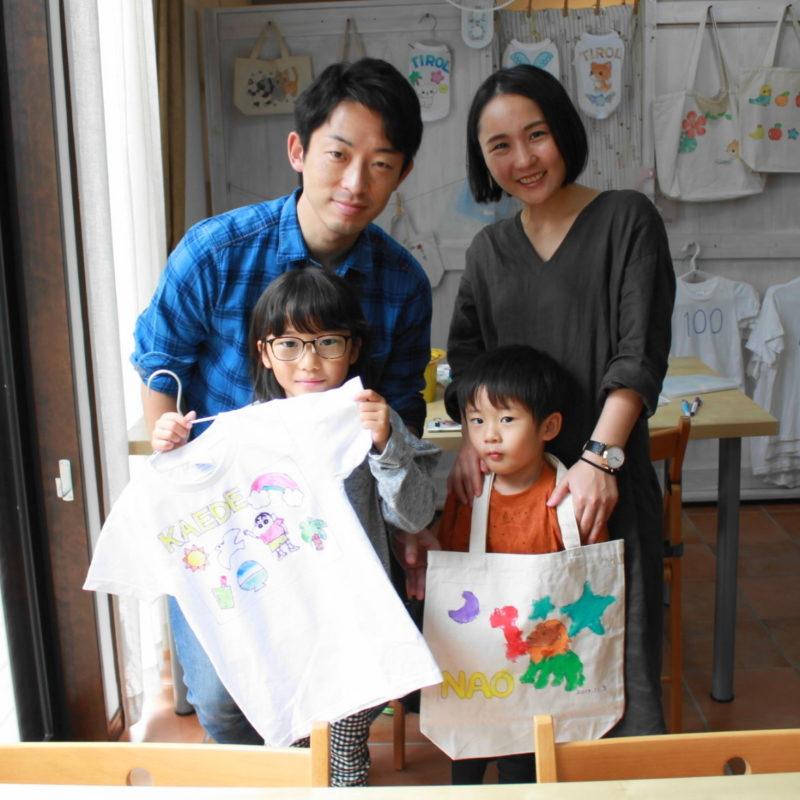 姉弟の手描きTシャツと手描きトートバッグ