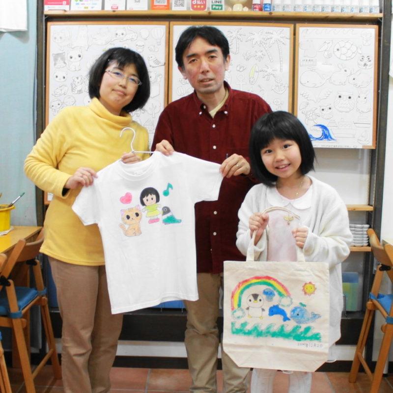 家族で作った手描きTシャツと手描きトートバッグ