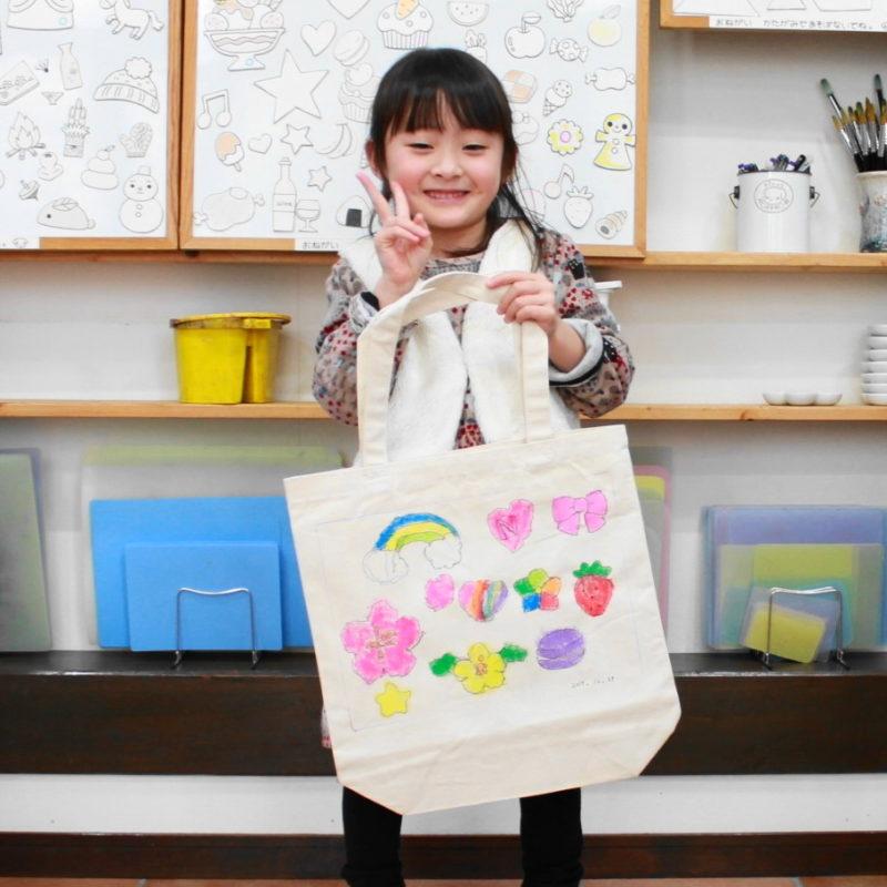女の子が作った手描きトートバッグMサイズ
