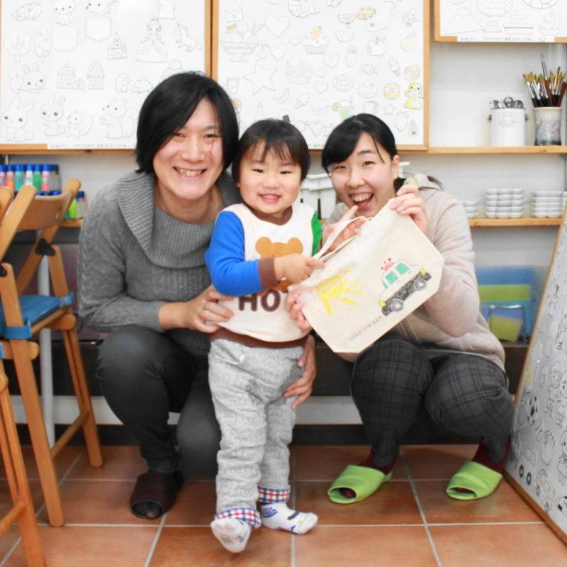 家族で作ったパトカーと手形のトートバッグ