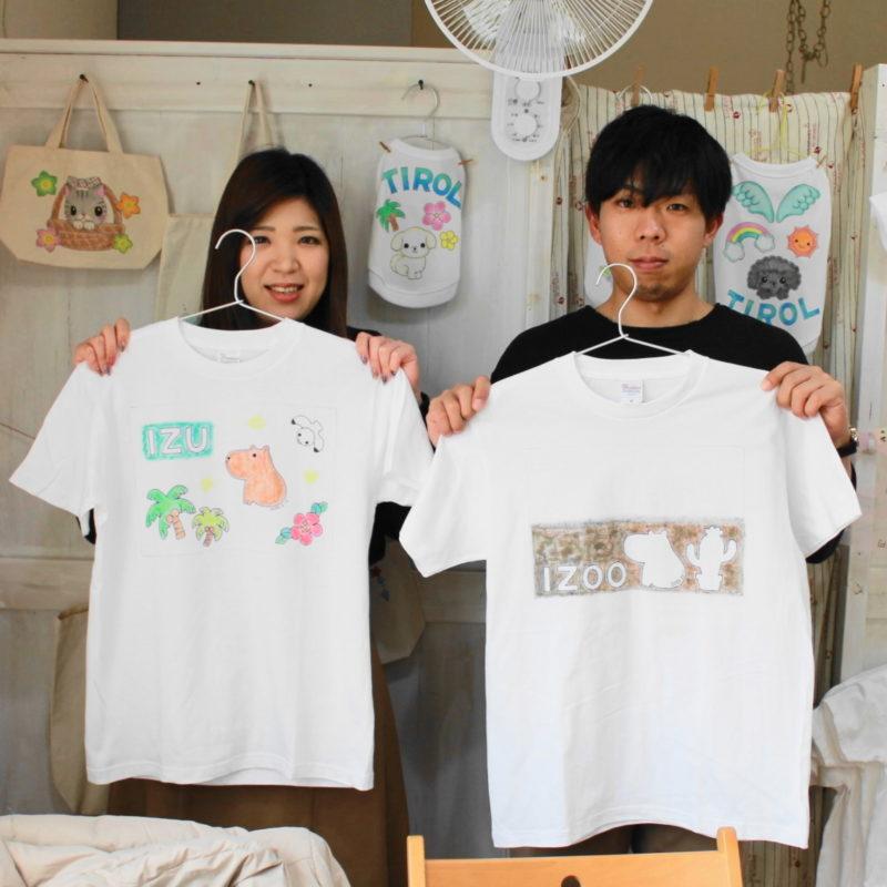 カップルで作ったカピバラの手描きTシャツ