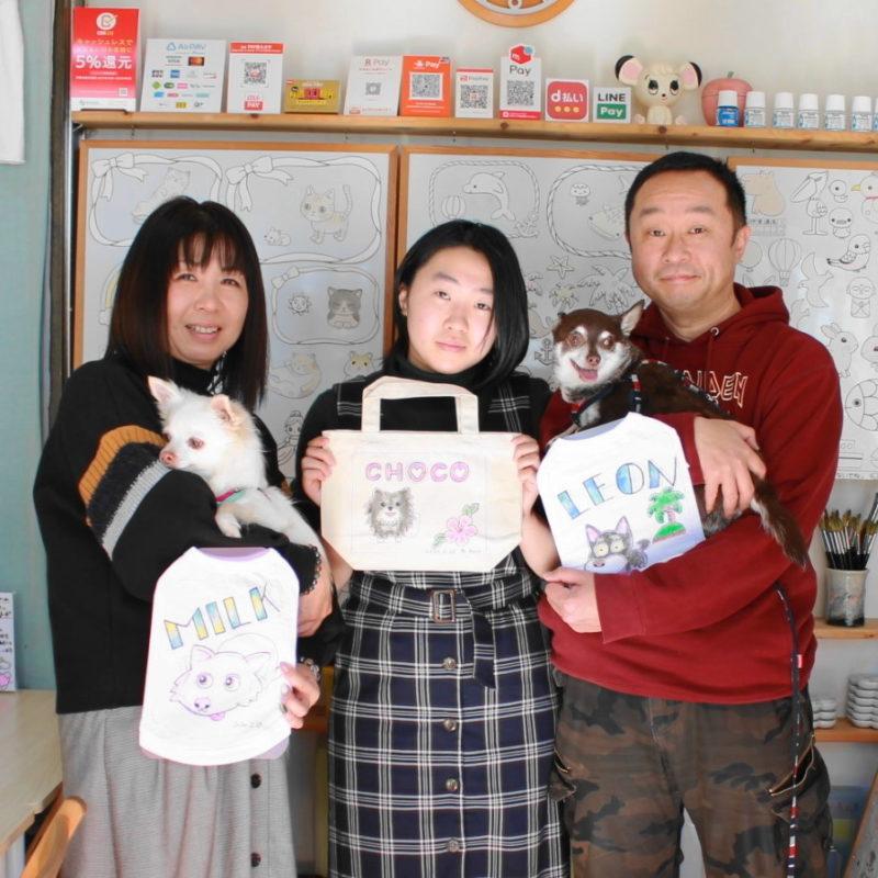 チワワのMILKちゃん・LEONちゃん・CHOCOちゃんの手描きワンコTシャツと手描きトートバッグ