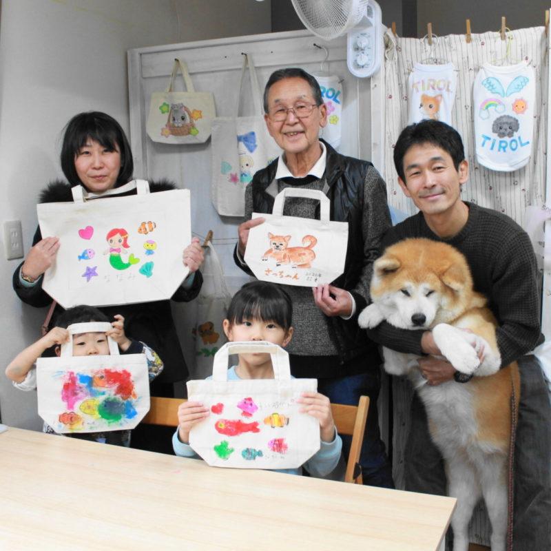 秋田犬さつきちゃんと手描きトートバッグ