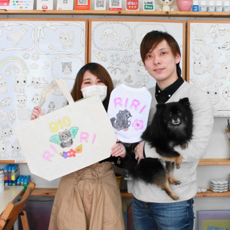 ポメラニアンRIRIちゃんの手描きトートバッグと手描きワンコTシャツ