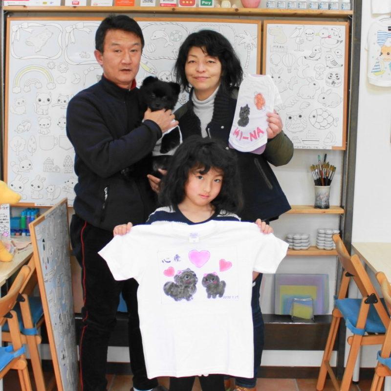 親子で作ったポメラニアンMI-NAちゃんの手描きワンコTシャツと手描きTシャツ