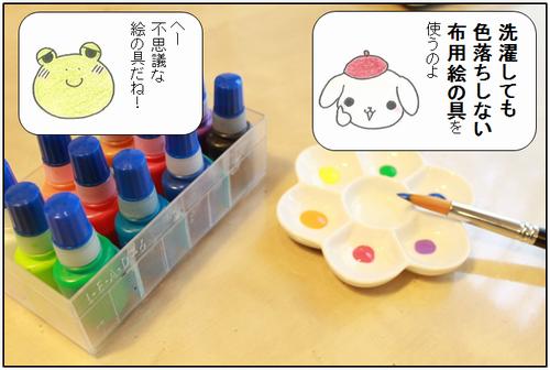 洗濯しても色落ちしない絵の具で色塗り