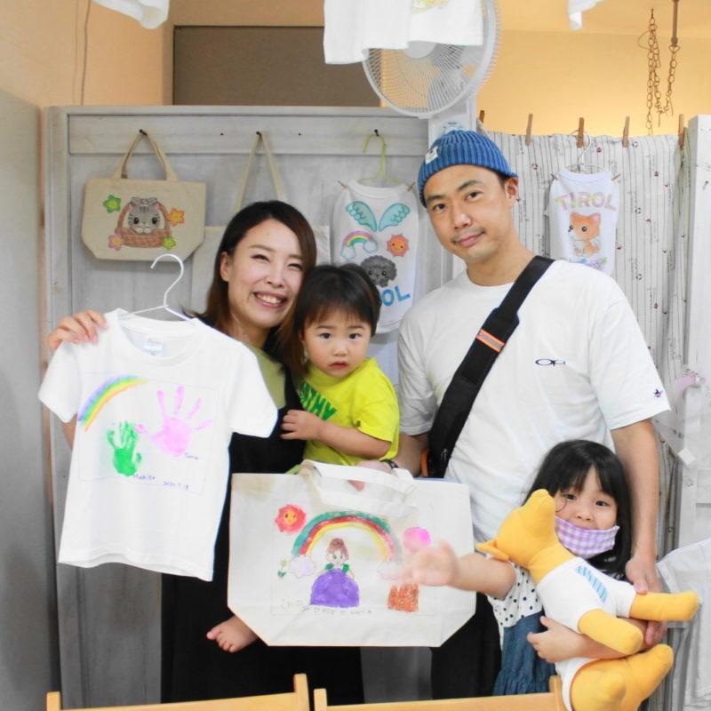 親子で作った手描きTシャツと手描きトートバッグ