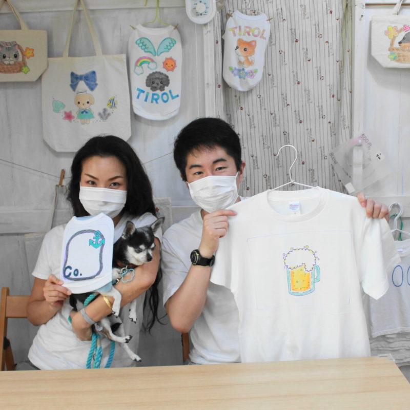 夫婦で作った手描きTシャツと手描きワンコTシャツ