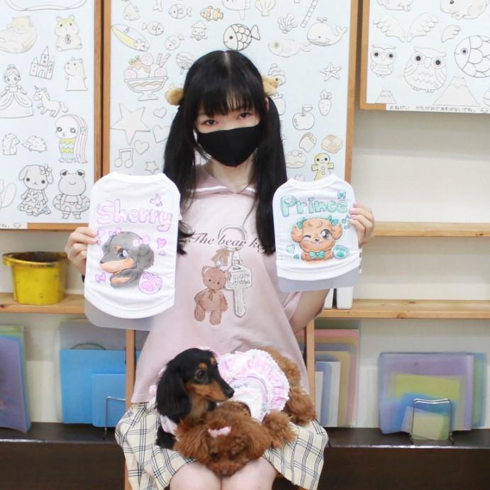 ミニチュアダックスSHERRYちゃんとトイプードルPRINCEくんの手描きワンコTシャツ