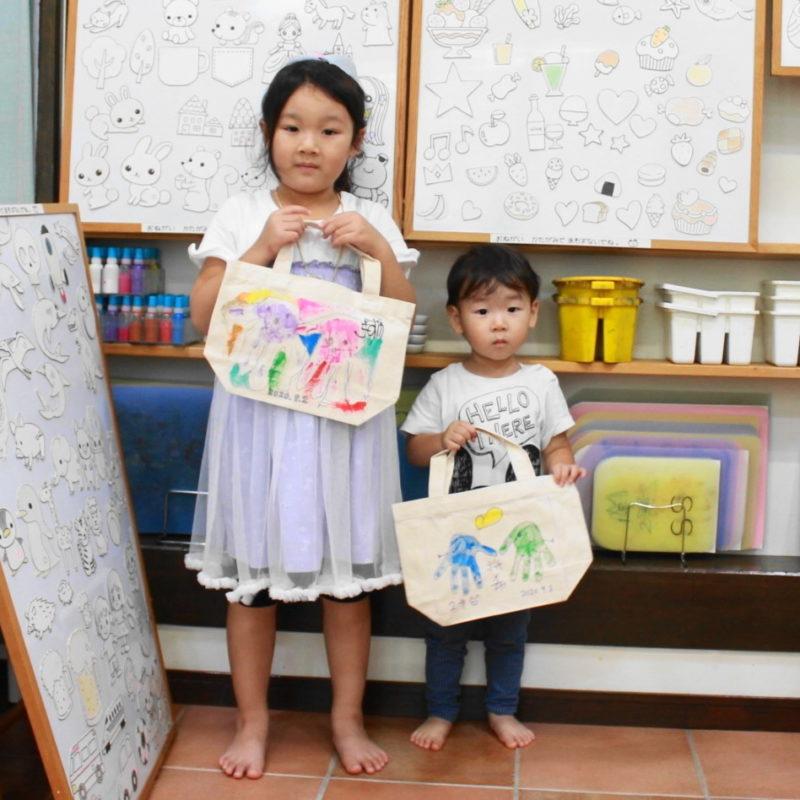 姉弟で作った手形ゾウさんのトートバッグ