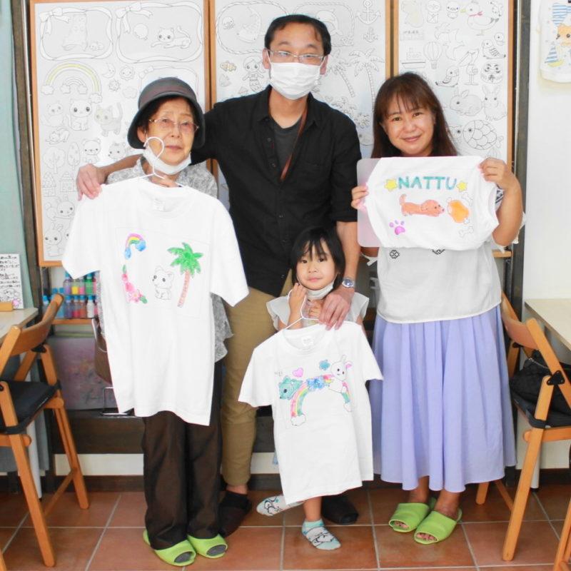 家族で力を合わせて作った手描きTシャツと手描きワンコTシャツ