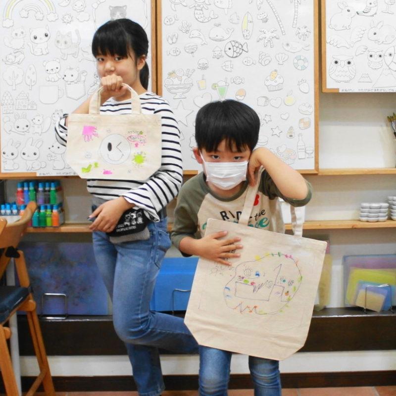 姉弟の手描きトートバッグ