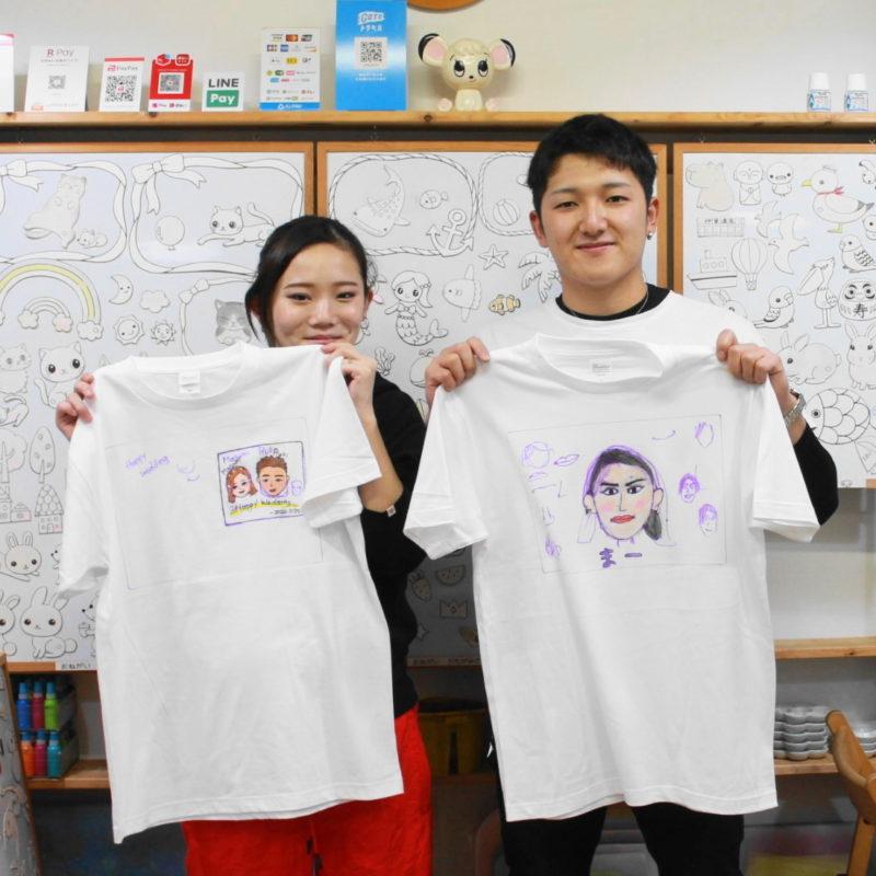 夫婦の似顔絵Tシャツ