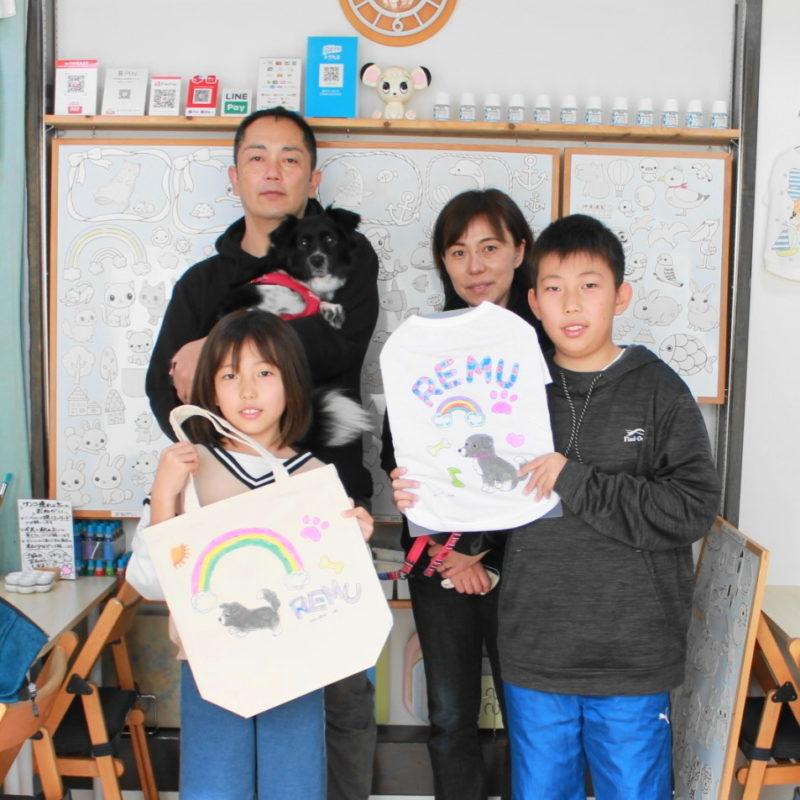 愛犬REMUちゃんの手描きワンコTシャツと手描きトートバッグ