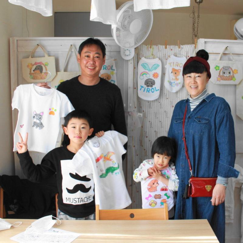 親子で作った手描きTシャツと手描きワンコTシャツ